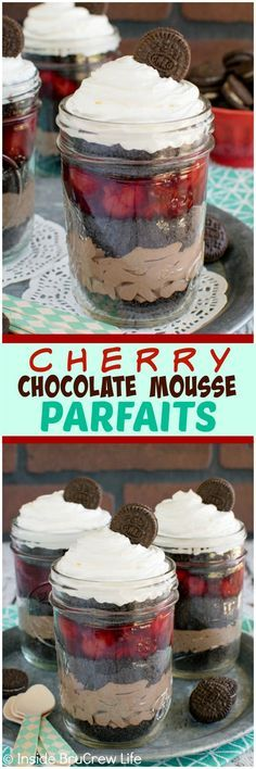 Cherry Chocolate Mousse Parfaits - layers of cherry pie filling, cookies, and chocolate makes a fun no bake treat for parties and picnics. Easy dessert recipe!