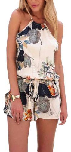 751c5191bdb Beige Women s Floral Print Casual Backless Short Romper Jumpsuit 23% off  retail