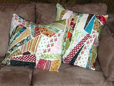 "cute ""scrap"" pillows.  she quilted them on a quilt machine but you could ""free hand"" them on a standard sewing maching too....or just zig-zag them down."