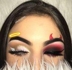 aesthetic makeup halloween Try the Two-Faced Halloween Look Thats Breaking the Internet, Make-up , Makeup Eye Looks, Eye Makeup Art, Crazy Makeup, Cute Makeup, Makeup Inspo, Eyeshadow Makeup, Makeup Inspiration, Beauty Makeup, Makeup Ideas