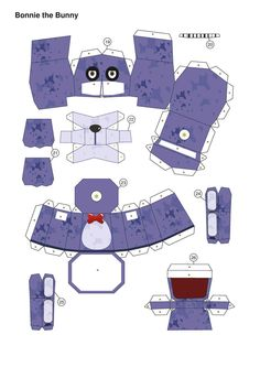 five nights at freddy's PurpleBonnie Papercraft p1 by Adogopaper on DeviantArt