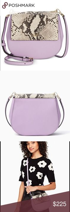 Kate Spade ♠️ lilac Cameron street snake Nwt Stunning lilac snake 🐍 print small cross body has 14k gold plated hardware, gorgeous lilac color and stylish snake print are a perfect match of colors. No lowballing these bags are sold out in stores and online. New with tags kate spade Bags Crossbody Bags