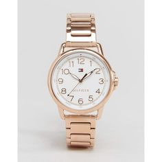 Tommy Hilfiger Rose Gold Casey Watch 1781657 ($195) ❤ liked on Polyvore featuring jewelry, watches, rosegold, tommy hilfiger jewelry, water resistant watches, pink gold watches, rose gold jewellery and rose gold watches