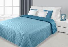 Narzuta na łóżko dwustronna koloru niebiesko turkusowego