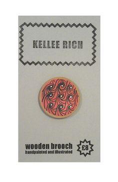 handpainted wooden brooch  pin  badge  waves sea red by KELLEERICH, £8.00 #brooch #handmade #handpainted #illustrated #wood #pin