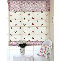 Fancy Butterfly Embroidery Roman Shade With Valance – USD $ 49.99