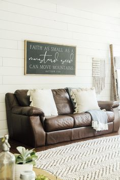 """Faith as small as a mustard seed can move mountains Matthew This sign speaks for itself as a beautiful reminder to have hanging on your living room shiplap walls. This christian home decor sign pairs perfect with the modern and boho farmhouse style Living Room Accessories, Home Decor Accessories, My Living Room, Living Room Decor, Small Living, Modern Living, John Lewis, Westerns, Farmhouse Bedroom Decor"