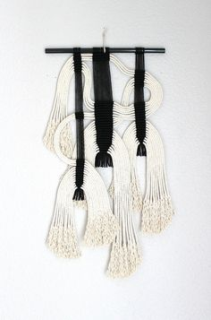 """Macrame Wall Hanging """"blk + wht #12"""" by HIMO ART, One of a kind Handcrafted Macrame, rope art"""