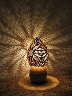 Calabash and coco lamp from the Pacifique