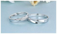 Simple Wave Promise Rings for Couples, 925 Sterling Silver Wedding Ring Band with Cubic Zirconia Diamond Accents, Matching Couple Jewelry Set for Him and Her : iDream Jewelry