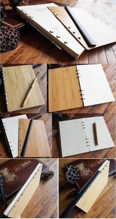 Natural Bamboo Wooden Wood Cover  Loose Leaf  Notebook Homemade Journal, Carved Wood Wall Art, Cool Office Supplies, Wooden Books, Best Book Covers, Chimichanga, Wood Burning Art, Wooden Crafts, Woodburning