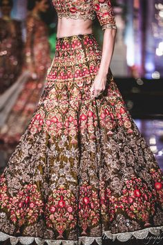 brown skirt, brown lehenga, silver embroidery, red and yellow thread work, silver border