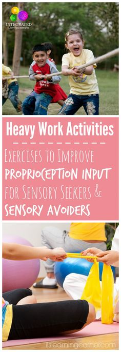 This relates to question 2 on the list. Heavy work is an intervention that can be used for children with Autism. Heavy work allows the joints, muscles, and other connective tissues to receive information, which increases proprioceptive input and decreases proprioception dysfunction.