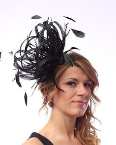 NEW-Black-Sinamay-Wedding-Feather-Fascinator-Hat-Ready-made-send-same-day