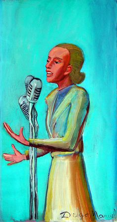 """""""Evita Perón le habla al pueblo """", acrílico sobre lienzo,53 x 28 cm…"""