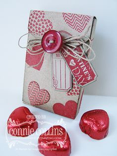 Valentine favor box made with the Boutique Boxes Designer Kit and the Hearts a Flutter/That's the Ticket stamp sets.