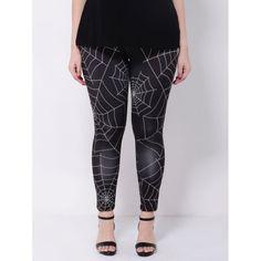Wholesale Stretchy Spider Web Print Leggings In Black | TrendsGal.com