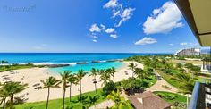 The view from a Ko Olina Beach Villa, ocean front condo.  These exquisite luxury villas have 2 & 3 bedrooms with living space ranging from 1,100 to over 1,600 sq. ft. and come with Roy Yamaguchi designed kitchens and private lanais. Ko Olina Beach Villas Resort