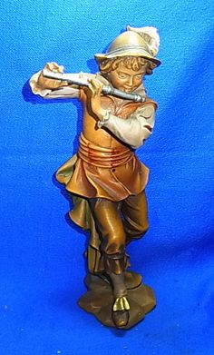 Vintage German Wood Carved Handpainted Musican Boy with Flute #I