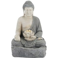"""Freeport 22 1/2""""H Stone Sitting Buddha LED Outdoor Fountain (8,075 DOP) ❤ liked on Polyvore featuring home, outdoors, grey and john timberland"""