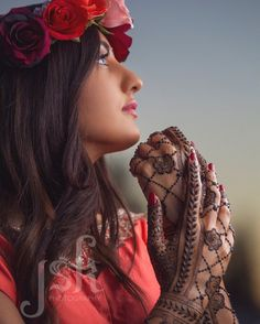 Bridal mehndi, flower crown. Henna by Neeta MehndiDesigner