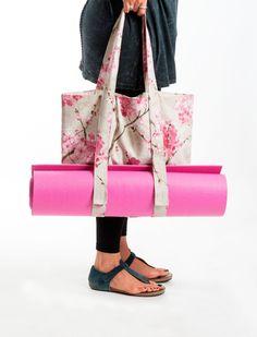 Spring Sale NEW Yoga Mat Bag Sakura Tote Bag Yoga by KlothoBags