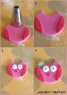 this is for fondant but could be done this same way with polymer : Tutorial fond. - this is for fondant but could be done this same way with polymer : Tutorial fondant owl - Fondant Icing, Fondant Toppers, Fondant Cakes, Chocolate Fondant, 3d Cakes, Modeling Chocolate, Easy Fondant Cupcakes, Easy Fondant Decorations, Doll Cakes