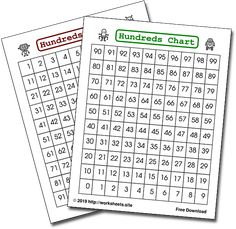1000s Chart. Free Printable Thousands Chart. 4 Different