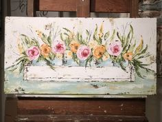 Planter Box Floral. Floral Art. Floral Painting by Haley Bush. Haley B Designs. Farmhouse Planter Box.