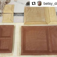 Make really unique pieces with multiple sections by using two or more #grpotteryforms together! Mix and match, for tons of fun possibilities! Here are some divided trays by @betsy_davis_pottery. She said... ・・・ A few new trays with my @gr.pottery.forms and a little texture from a knit shawl. I am really enjoying putting multiple forms together. ____________________________________________  #pottery #ceramics #clay #potterystudio #potterytools #drapemold #handmade #makersmovement…