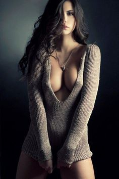 beautysensualityartaround #beautiful #sexy #woman , a woman in a sweater and nothing underneath is sexy as hell!