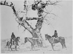 Tree burial of the Oglala Sioux near Fort Laramie, Wyoming. Now, we have no choice but to bury our loved ones the wasicu way. I bet the wasicu woukd just be so pleased if we Lakota forced THEM to live like US, huh? Native American Tribes, Native American History, South Dakota, Nebraska, Indian Pictures, Colorado, Le Far West, Native Art, First Nations