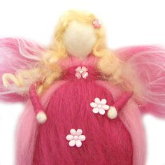 Needle Felted Pink Waldorf Fairy by RolyzTreasures, $30.00