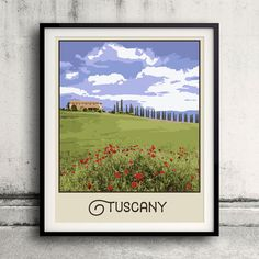 Tuscany Travel poster  Wall Art Vintage style Decor by Paulrommer