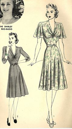 40s swing dress print ad flutter sleeves floral white black grey HOLLYWOOD Pattern #: 691