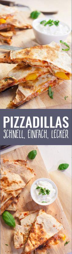 - geht ganz schnell als Alternative zu Pizza und ist etwas kalorienärmer.-)Pizzadilla - geht ganz schnell als Alternative zu Pizza und ist etwas kalorienärmer. Pizza Recipes, Grilling Recipes, Chicken Recipes, Dinner Recipes, Cooking Recipes, Healthy Recipes, Healthy Pizza, Easy Recipes, Pizza Snacks