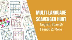 Scavenger Hunt Lists in Spanish, English & French - FREE Printables Backyard Scavenger Hunts, Scavenger Hunt List, Nature Scavenger Hunts, Water Games For Kids, Indoor Activities For Kids, Family Activities, Summer Fun List, Summer Bucket, Learn English
