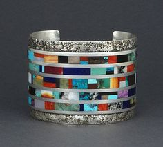 Silver & Mult-Stone Inlay Bracelet by Vernon Begaye (Navajo)