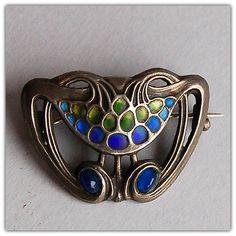 Silver & enamel brooch