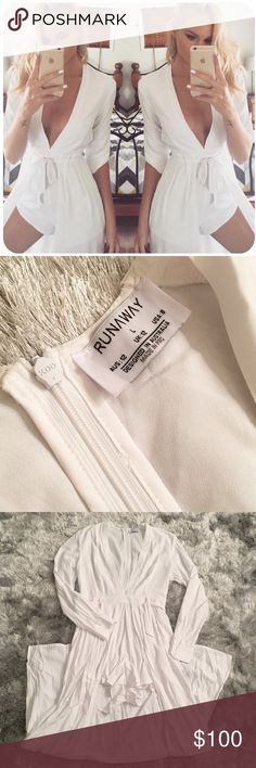 • Runway The Label White Xanadu Playsuit/Romper  Like new! Worn once!  Arrived wrinkly and will be sent the same way! You will need to iron and/or steam this piece  Has shorts, it ties, features a long cape in the back and zips in the back!  Sleeves may be rolled up or kept down   Prices are FIRM here on Posh! All offers will kindly be declined!   ⭐️ Ask all questions below! ⭐️ Bundle discount is 5% off 2 + pieces, on here! ⭐️ NOT Nasty Gal! Put for exposure/views!  XO - AW - ☠️ Nasty Gal…
