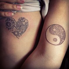 Heart and floral inspired Yin Yang tattoo. You can customize your own Yin Yang tattoo depending on the beliefs that you have and what you wish to convey on your tattoo.