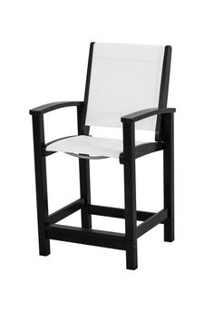 Polywood 9011-BL901 Coastal Counter Chair in Black / White Sling