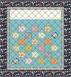 Drunkard's Path: 3 identical blocks are turned so that the quarter circle is in the center. 1 block is made with the opposite fabrics and the circle portion is turned away from center. The four blocks combined are set on point, creating a cute little fish that is swimming along!