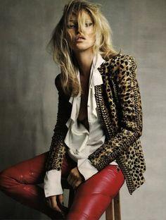 Red leather pants & animal print