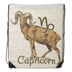 Zodiac Sign Capricorn Symbol Drawstring Backpack   Zodiac Sign Capricorn Symbol Products and Apparel Gifts. Capricorn The Goat known as The Ambassador. December 22 to January 20 . Astrology Design for the Capricorn's colors were chosen based on it's color being Brown and most dark colors, Element is Earth. You can personalize and customize them.