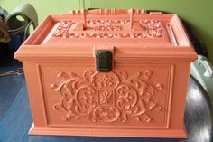 Ugly sewing box painted a cool coral color