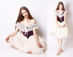 Vintage Ballet Costume / Ballet Tutu / Vintage Lace Dress / Vintage Velvet Dress / Halloween Costumes / 2501