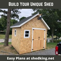 I just got this picture from Dan who used my 10x10 gable shed plans to build his really cool looking shed.  It is so unique looking with the cedar shake siding and really nice shed doors.  Check out the shed plans Dan used to build his 'sweet' shed.  The shed building plans come with construction guide, materials list, email support and 3d building model.  Download today and start building your unique shed tomorrow.