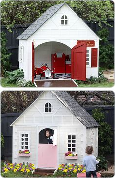 Cubby Houses - seriously would love to have a small boys playhouse in our yard. Kids Cubby Houses, Kids Cubbies, Play Houses, Playhouse Outdoor, Boys Playhouse, Playhouse Ideas, Play Spaces, Kid Spaces, My Little Beauty
