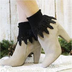 Signature lace sock in black. Women have been calling these black long lace socks their signature look since Our black lace cuff sock is the perfect comp Lace Socks, Lace Cuffs, Socks For Flats, Victorian Lace, Signature Look, Bare Foot Sandals, Cotton Lace, Autumn Fashion, Trending Outfits